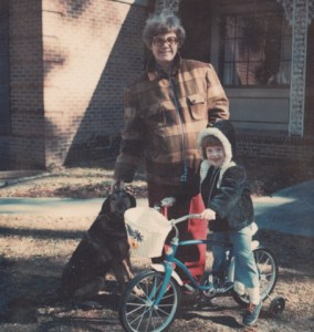 KJ Garner, founder and owner of Bike Fun, on her first bike in 1978 with her mom in Wilson, NC.