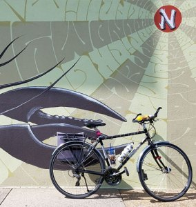 KJ's bike outside a mural on Music Row in Nashville, TN
