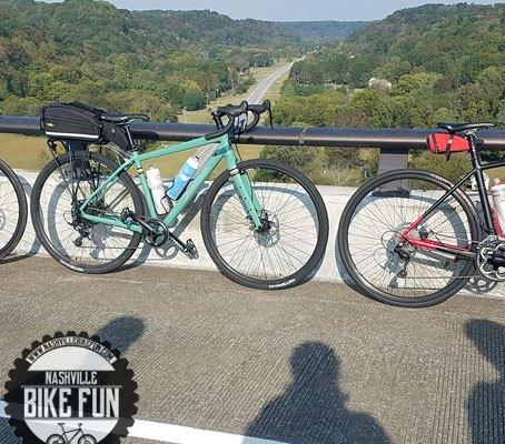 Shadows of bike riders at the Natchez Trace Parkway bridge near Franklin, TN.
