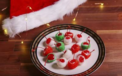Bourbon Cherry Bombs for Christmas