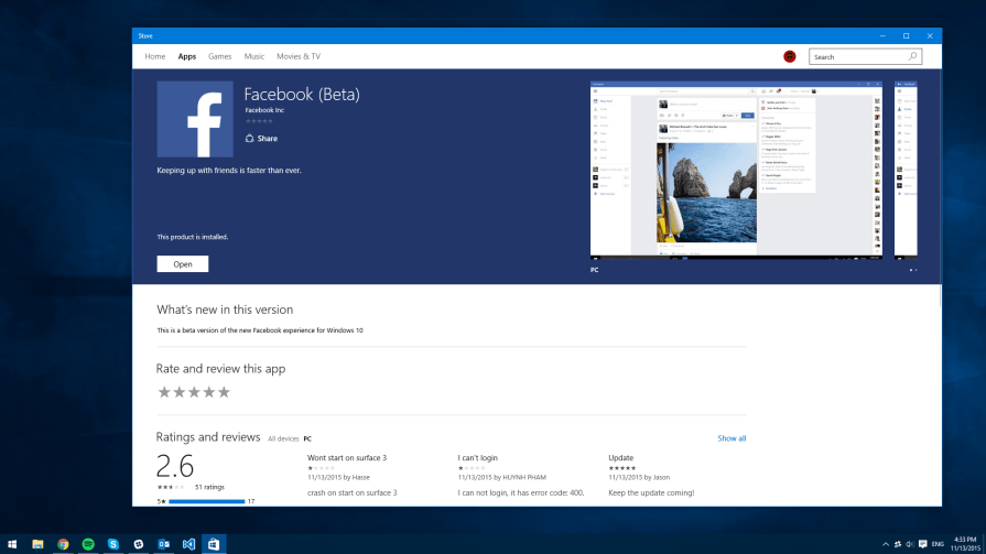 Facebook Beta for Windows 10
