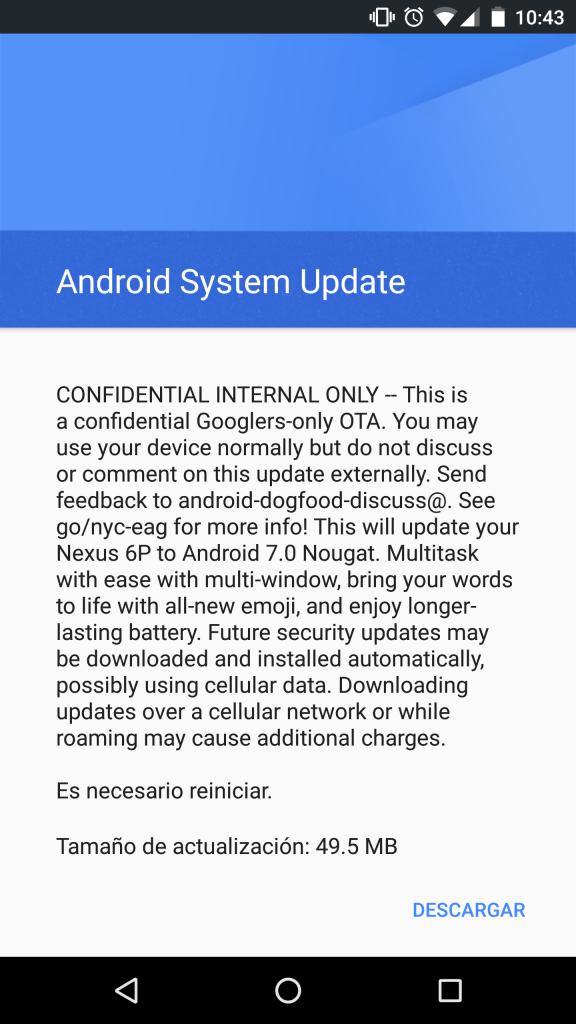 Android Nougat Nexus 6P update