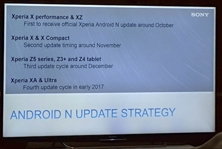 Sony Xperia X Android Nougat Update