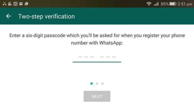 WhatsApp Six digit passcode