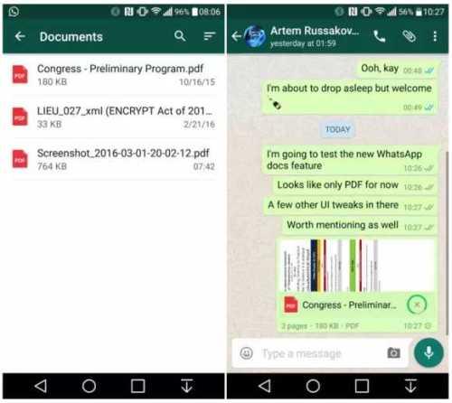 whatsapp Document sharing