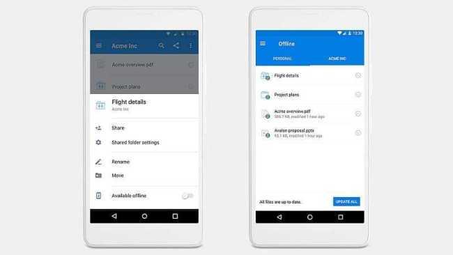 Dropbox Mobile Offline Folders