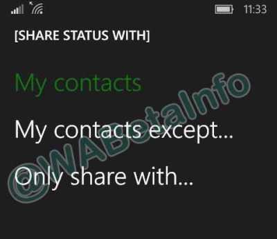 WhatsApp Privacy Options
