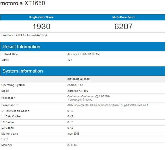 Motorola XT1650 Snapdragon 835