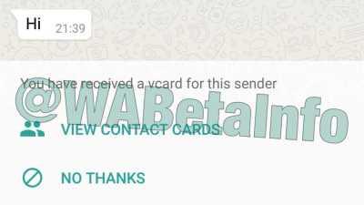 WhatsApp on iOS vCard