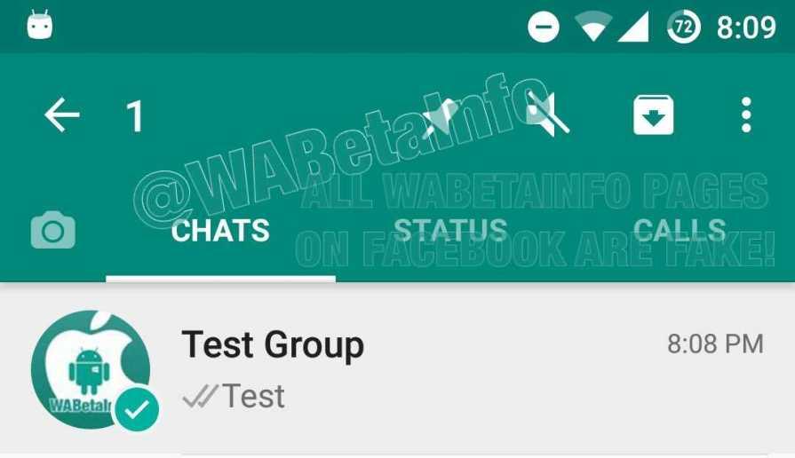 WhatsApp beta Pinned chats