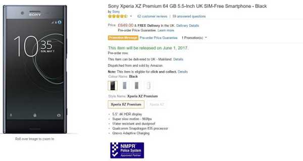 Xperia XZ Premium on Amazon