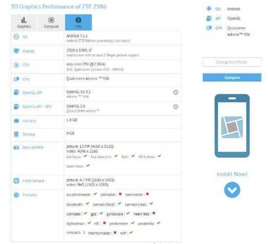 ZTE Z986 Spotted in GFXBench