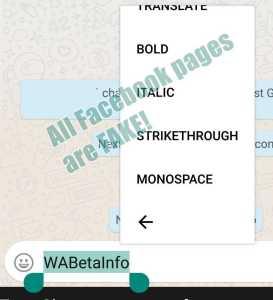 WhatsApp new font shortcuts