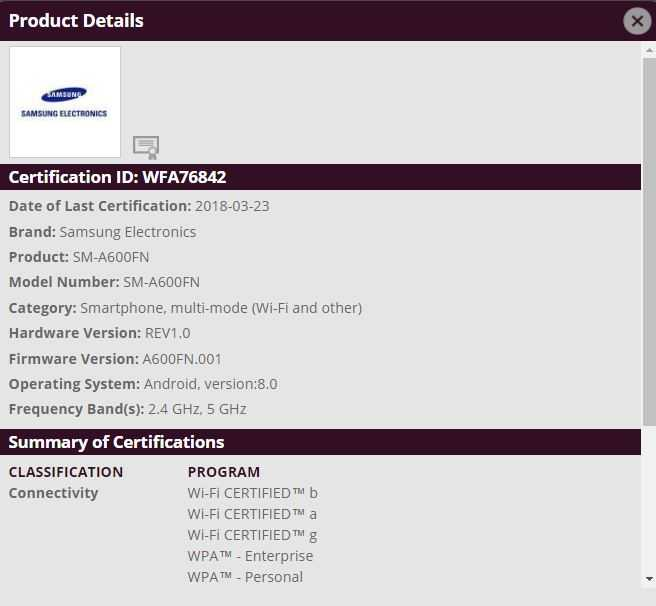 Samsung Galaxy A6 Sm A600fn Now Gets Bluetooth And Wfa Certified
