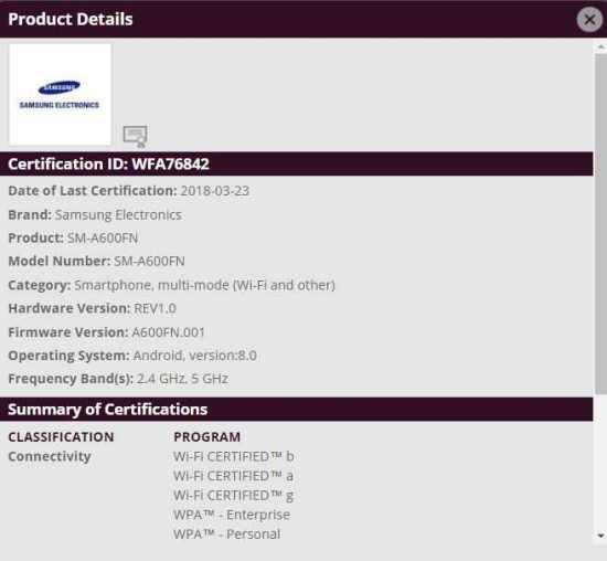Samsung Galaxy A6 WiFi Certification