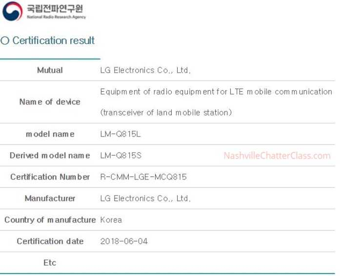 Lm Q815l Certified As Lg Q8 Bags Kcc And Wfa Certifications And