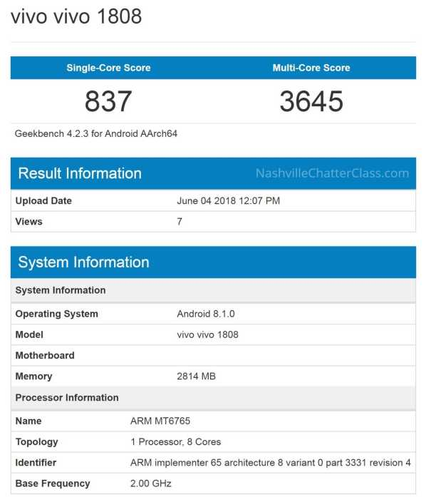 Vivo 1808 Geekbench