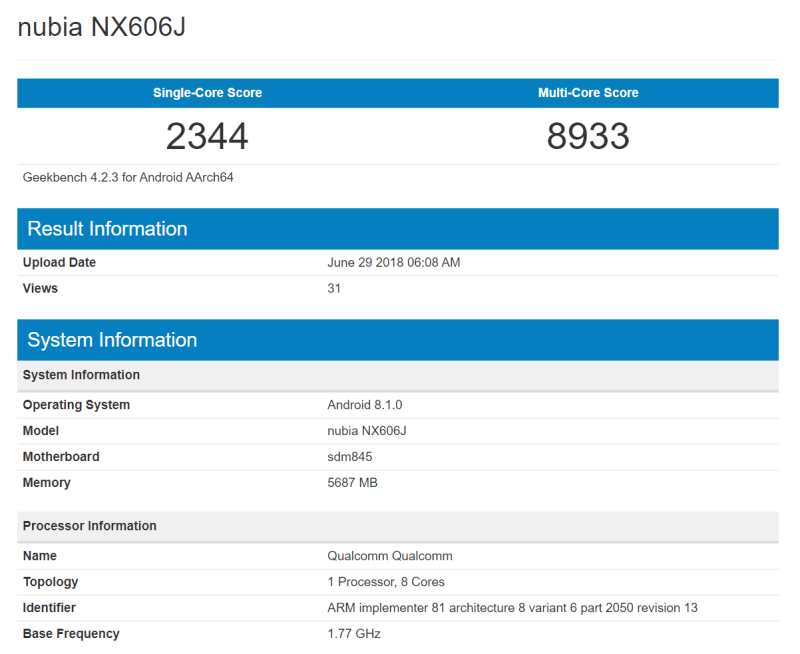 Nubia NX606J 6 GB RAM Geekbench_