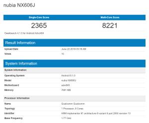 Nubia NX606J 8 GB RAM Geekbench