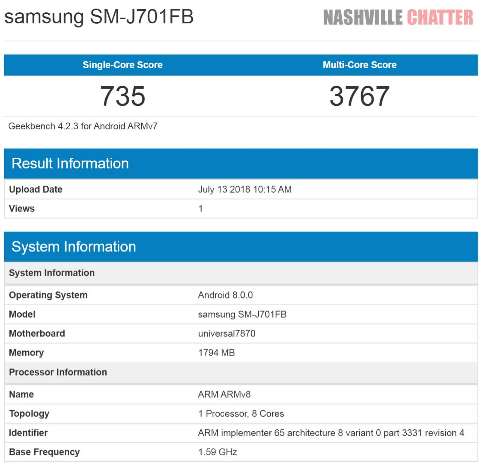 Samsung Galaxy J7 Nxt with Android Oreo 8 0 Spotted on Geekbench