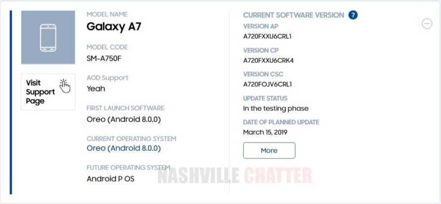 Samsung Galaxy A7 (2018), Galaxy A9 (2018) Android 9 Pie