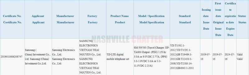 Samsung Galaxy Note 10 25W