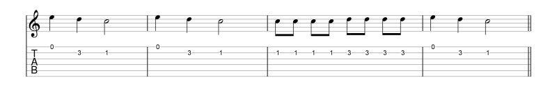 example across 2 strings