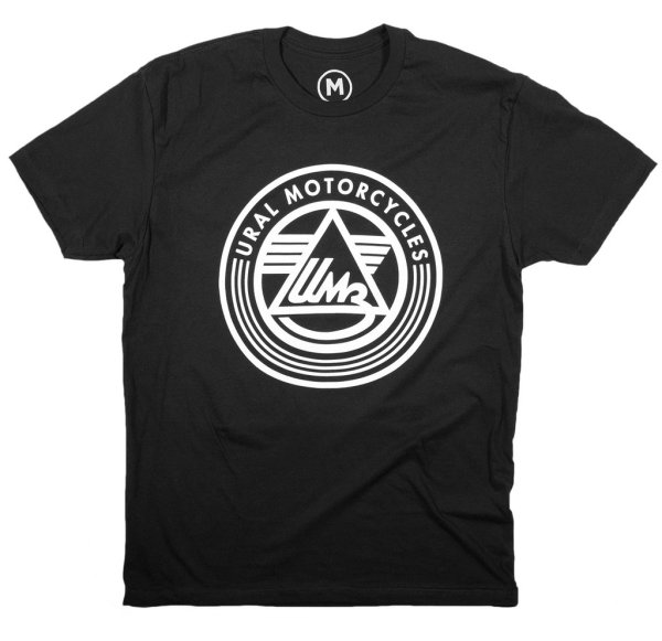 """black t-shirt with large white imprint of Ural Motorcycles logo with """"IMZ"""" at the center"""