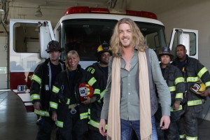 """Bucky Covington and members of the Nashville Fire Department film the """"Be a Hero/ Save a Hero"""" PSA in September.  Photo credit: Tim Miller"""