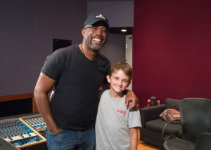 Darius Rucker hits the recording booth with St. Jude patient Brennan. Photo Credit: Courtesy of St. Jude