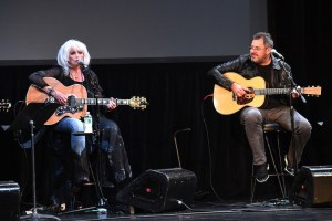 Emmylou Harris and Vince Gill, honorees, along with the Grand Ole Opry, at the 2016 American Eagle Awards, presented during the Summer NAMM show.
