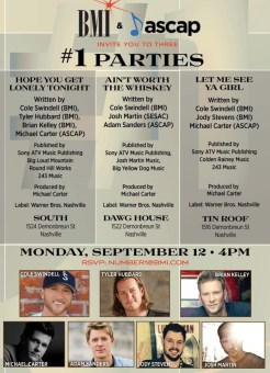 three Number One parties in one day for Cole Swindell