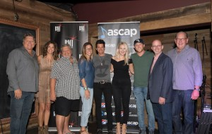 Pictured (L-R): BMI's David Preston, manager Kerri Edwards, Big Loud Mountain's Craig Wiseman, Round Hill's Penny Gattis, songwriter and producer Michael Carter, ASCAP's Beth Brinker, BMI artist Cole Swindell, Sony/ATV Tree Publishing's Terry Wakefield and Warner Music Nashville's John Esposito. Photo: Steve Lowry.