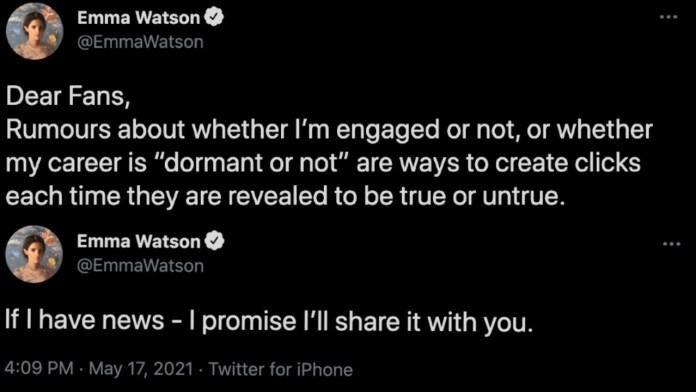 Emma Watson engagement career rumors