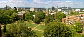 Vanderbilt University Campus Panoramic Image showing the Library Lawn, Benton Chapel, and Downtown Nashville Skyline (Vanderbilt Photo / Daniel Dubois) campus ariel