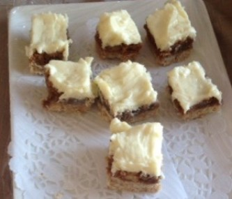 Mascarpone, white Chocolate Walnut squares