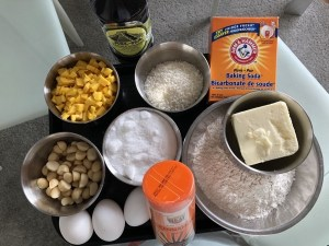 Mango, coconut and Macadamia nuts loaf Ingredients