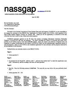 2006 07 FAFSA NASSGAPs Comments 6 30 06 pdf 1 - 2006-07-FAFSA-NASSGAPs-Comments-6-30-06-pdf-1