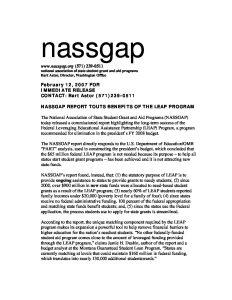 NASSGAP LEAP study press release Feb 07 pdf 1 - NASSGAP-LEAP-study-press-release-Feb-07-pdf-1