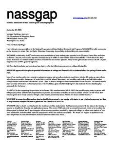 NASSGAP letter to Spellings 9 27 06 pdf 1 - NASSGAP-letter-to-Spellings-9-27-06-pdf-1