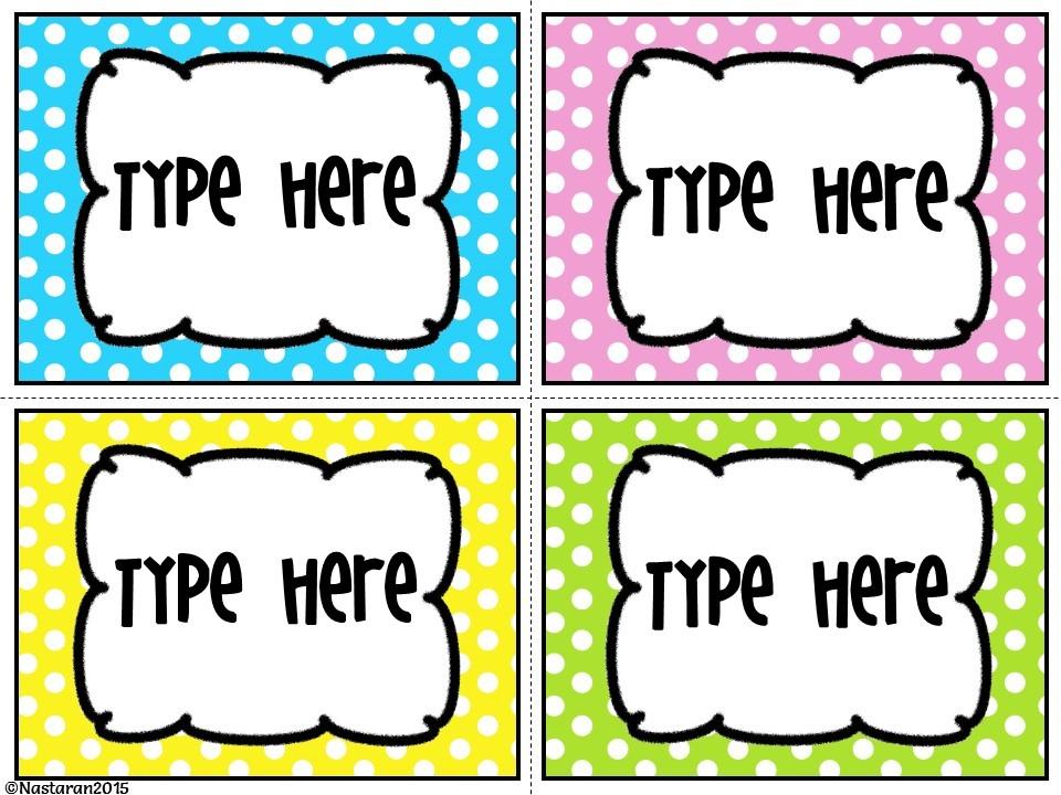 Editable Bright Polka Dots Labels