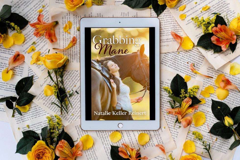 floral tablet with Grabbing Mane by Natalie Keller Reinert