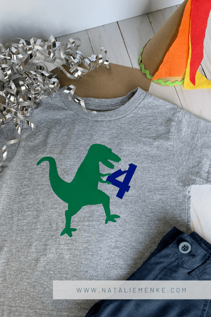 Volcano Birthday Party T-Rex eating the number 4 birthday boy shirt made with a Cricut Explore Air 2 at www.nataliemenke.com