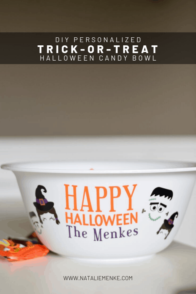 Make a personalized trick-or-treat candy bowl for a custom fall gift for any occasion. Use the Cricut tutorial at www.nataliemenke.com for step-by-step directions to make your own!