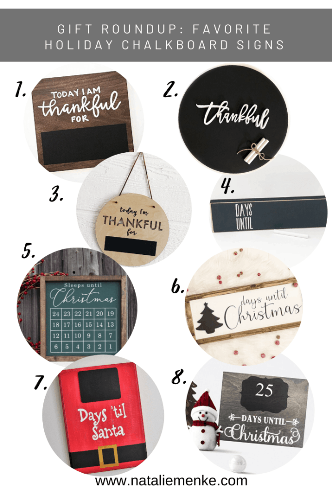 Gift guide round up of my favorite holiday chalkboard signs for sale on Etsy.com.