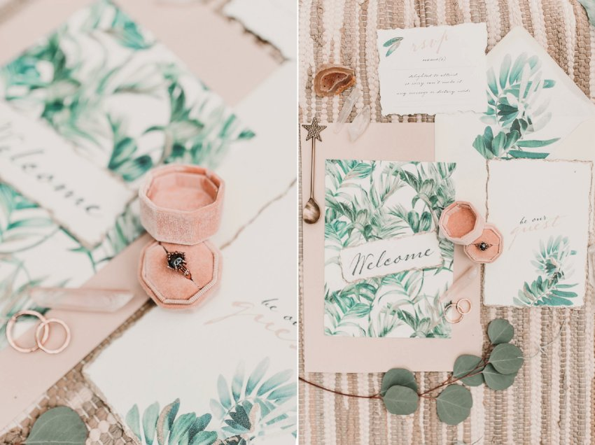 Boho engagement ring goals. Blush pink and palm wedding stationary. Blush and green Bohemian Wedding Inspiration bringing a little California to you where ever you are in the world. Relaxed styling and desert inspiration and vibes. Wedding ideas for boho brides who an effortlessly relaxed, bohemian wedding. Shot by Natalie Pluck Photography. See full blog post for credits and more inspiration here http://www.nataliepluck.com/bohemian-wedding-inspiration/ 