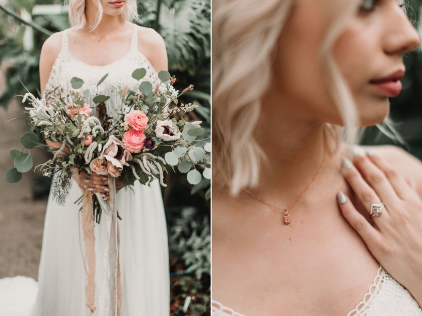 Wild cascading blush bouquet paired with the perfect alternative wedding jewellery for this Boho bride. Blush and green Bohemian Wedding Inspiration bringing a little California to you where ever you are in the world. Relaxed styling and desert inspiration and vibes. Wedding ideas for boho brides who an effortlessly relaxed, bohemian wedding. Shot by Natalie Pluck Photography. See full blog post for credits and more inspiration here http://www.nataliepluck.com/bohemian-wedding-inspiration/ 