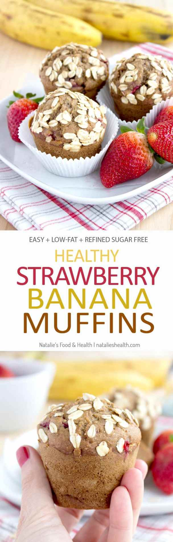 Super sweet and moist, perfectly fragrant Strawberry Banana Muffins made with all HEALTHY ingredients, refined sugar-free, packed with fresh strawberries. These muffins are easy to make yet delicious dessert that truly screams Spring. CLICK to read more or PIN for later! #healthy #easy #muffin #sugarfree