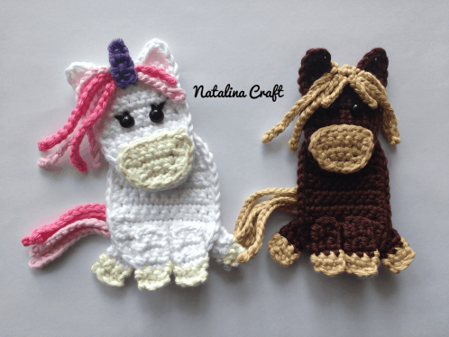 Free Crochet Pattern Appliques Horse And Unicorn Patron Gratuit