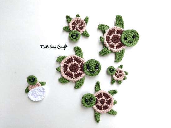 Free Crochet Pattern Sea Turtles Family Appliques Tortues De Mer Simple Free Sea Turtle Crochet Pattern